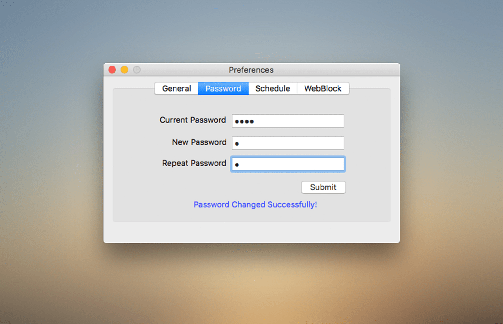 password setting