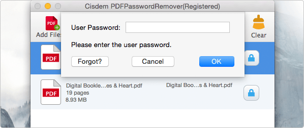input the user password to open protected pdf