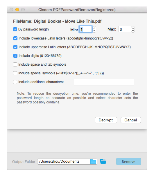 tweak the setting to remove pdf password