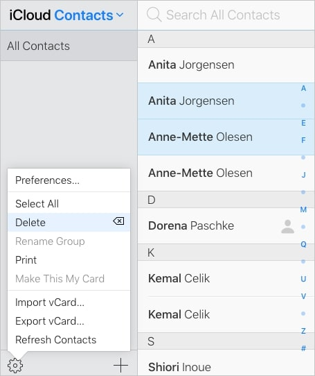 select duplicate contact cards to delete