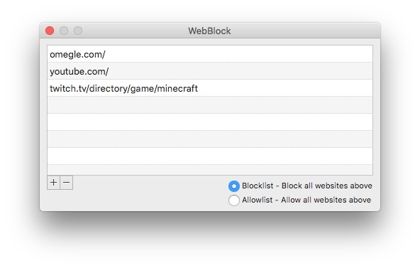 block websites by adding them to the Blocklist