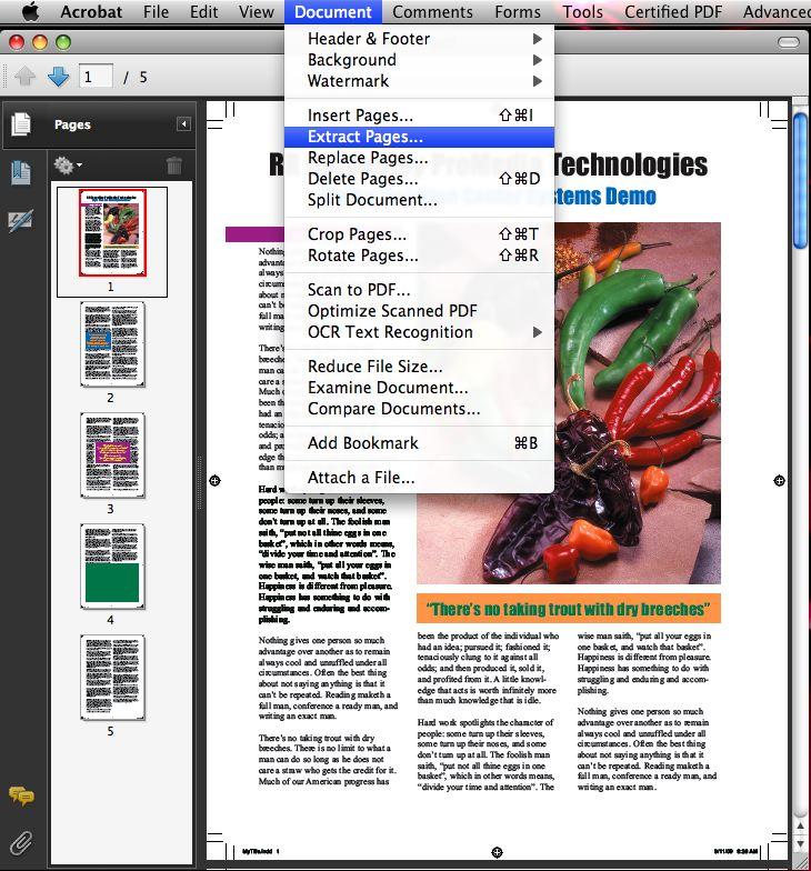 separate pdf pages on mac