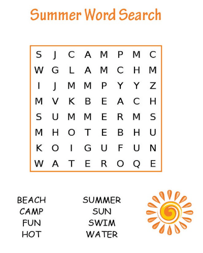 graphic relating to Free Printable Word Search for Kids identify 35 Cost-free Printable Summertime Term Appear PDF for Enjoyment 2018