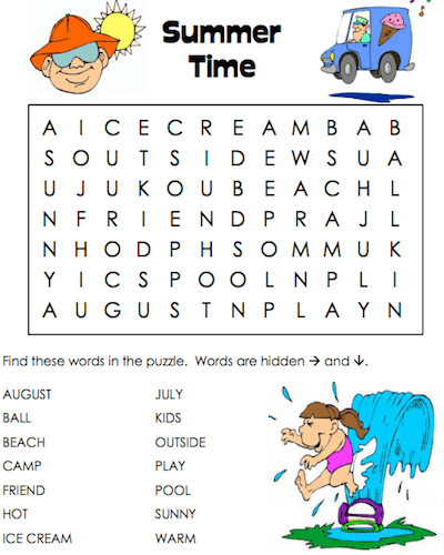 summer word search 12