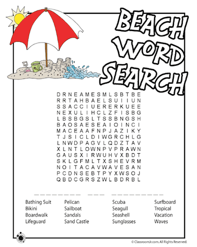 summer word search 16