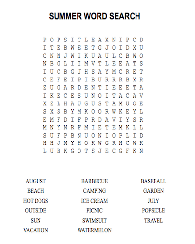 summer word search 18