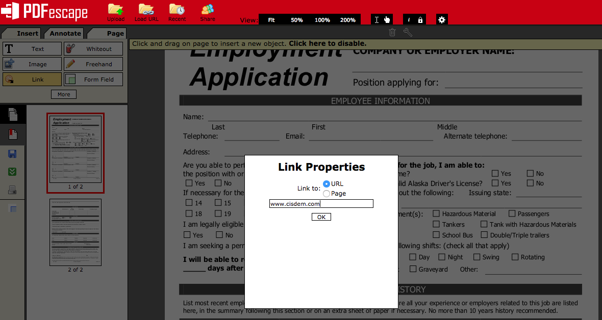 add hyperlink to pdf online