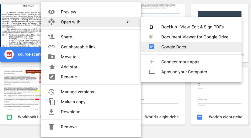 convert pdf to excel with google drive 02
