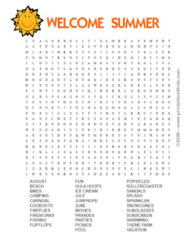 Revered image throughout printable summer word searches