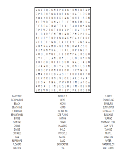 summer word search 35