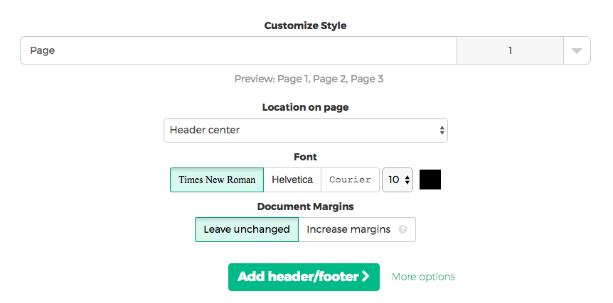Add page numbers in a header or footer
