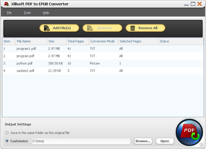 xilisoft pdf to epub convertere