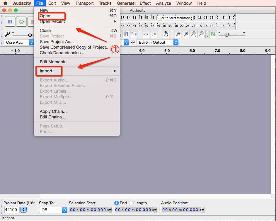 Convert MP3 to MIDI with Audacity Step One