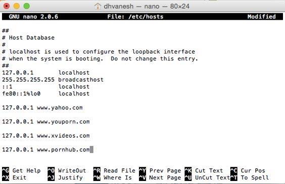 edit hosts fie in Terminal to block sites