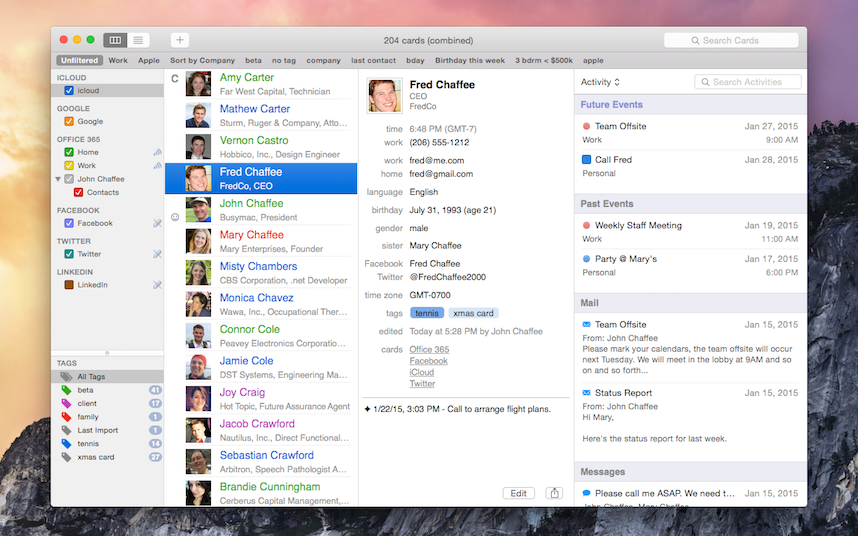 BusyContacts card view