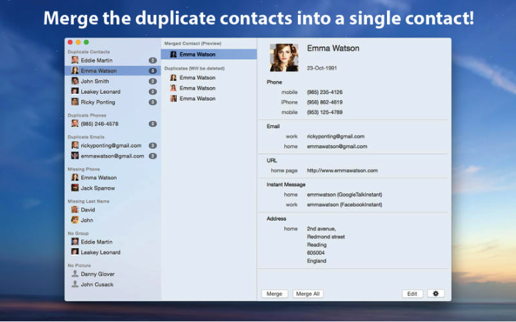 Solutions Five to Merge or Remove Duplicate Contacts on Mac