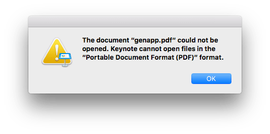 Keynote can not open PDF