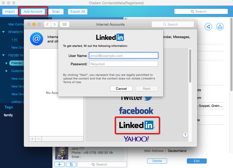 Import LinkedIn contacts to the program