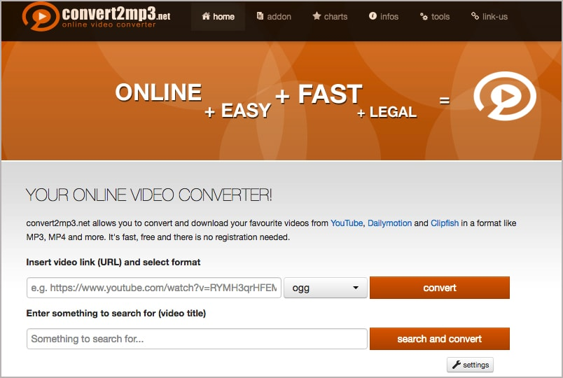 online YouTubeInMP3 alternative 1
