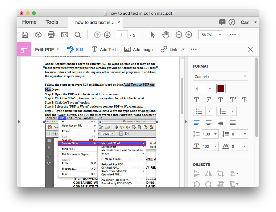 how to add text to pdf on mac with adobe