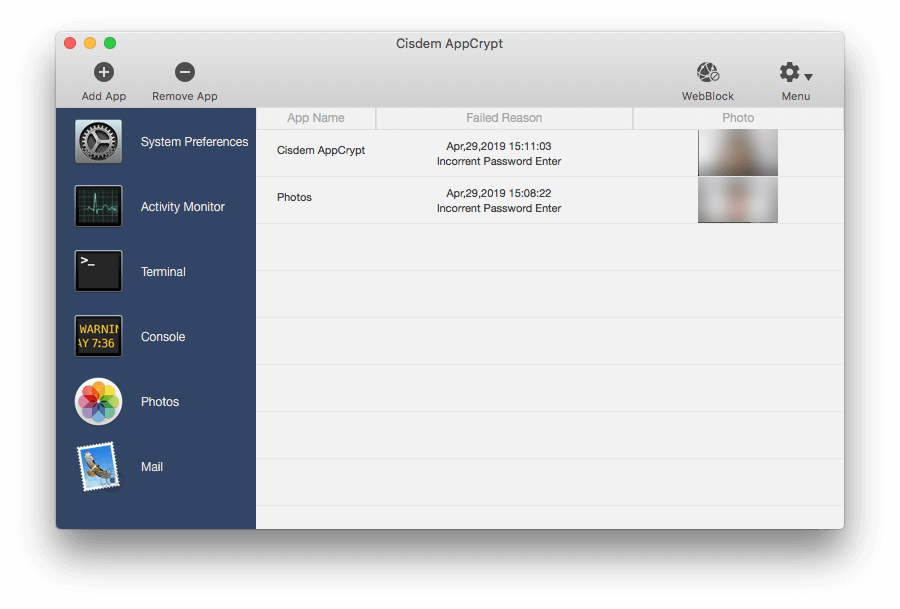 keep record of attempts to open locked Photos on Mac