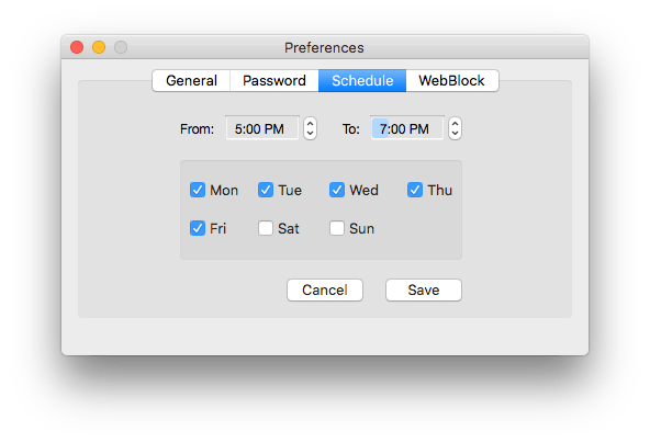 set time schedule to lock WhatsApp on Mac