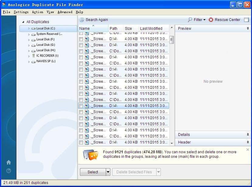 auslogics duplicate file fnder