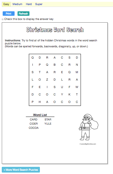 Word Search Big Activities