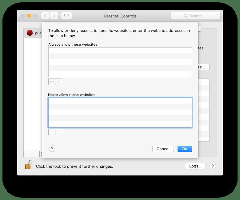 add websites to block on Mac