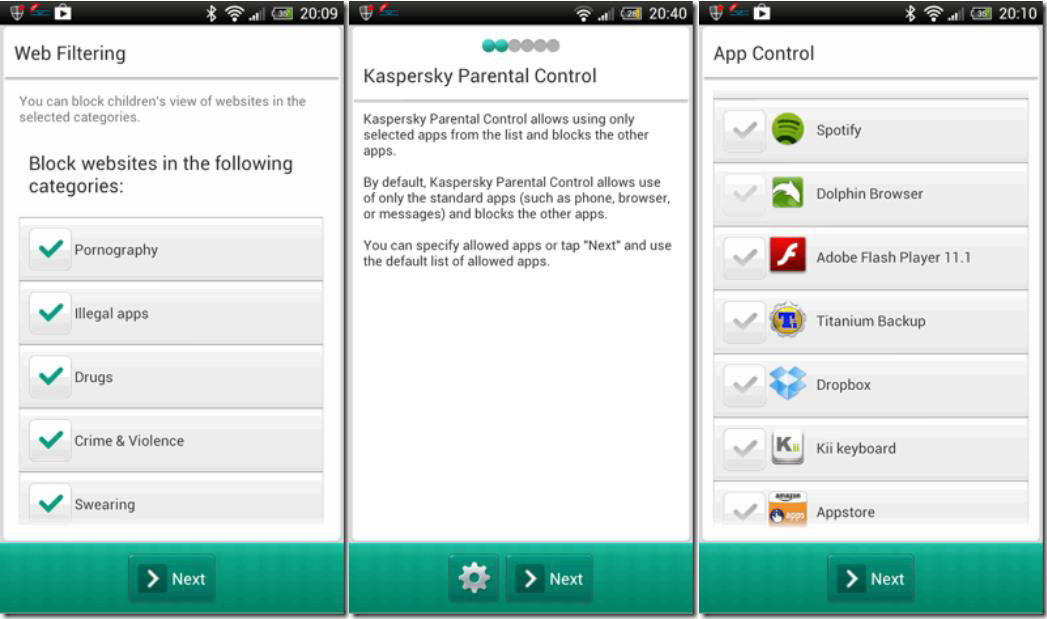 Block a Website via Kaspersky Parental Control on Android One
