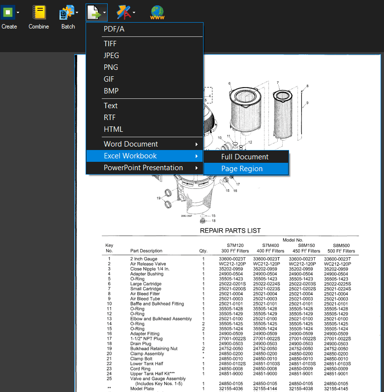 bluebeam ocr export to excel