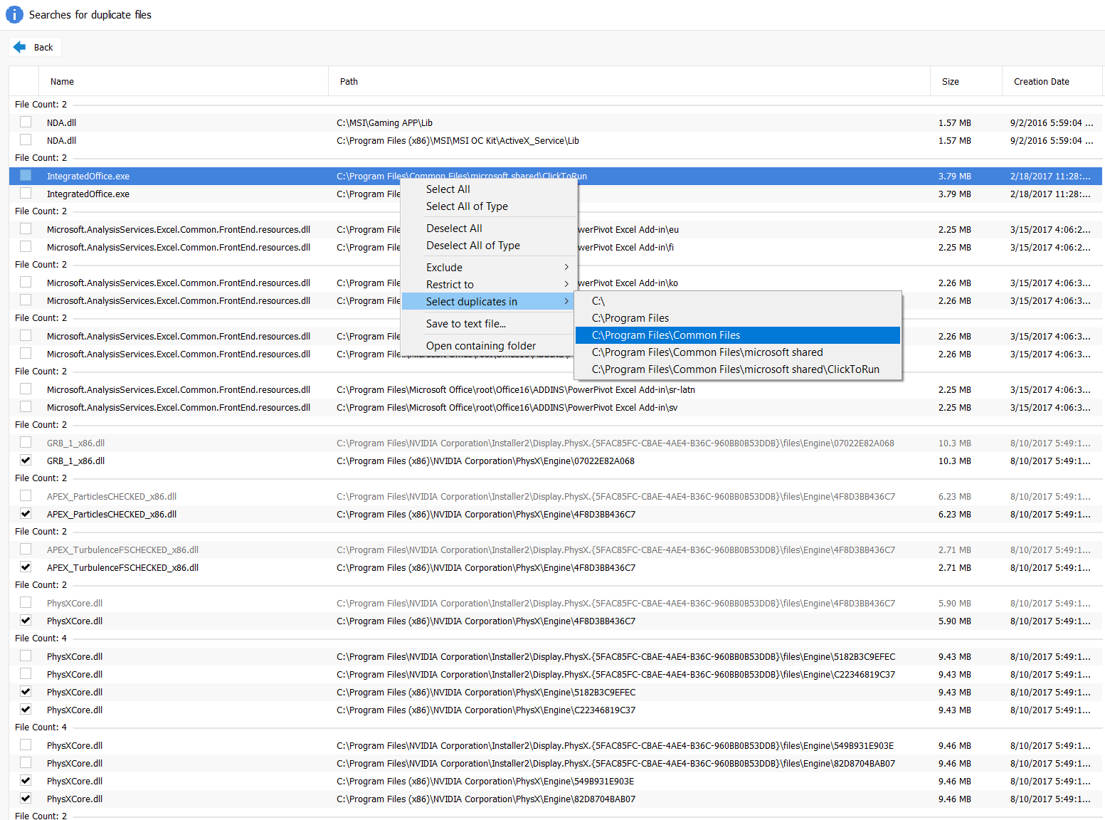 select files for deletion