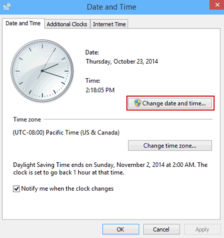 change time and date windows