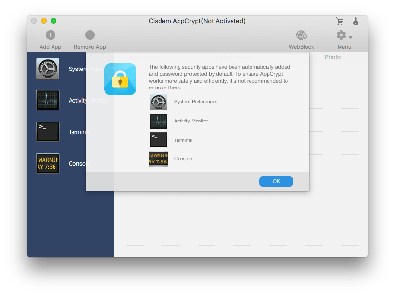 lock four system apps by default
