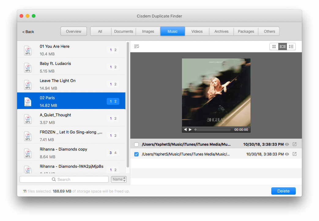 preview, select and remove iTunes duplicates