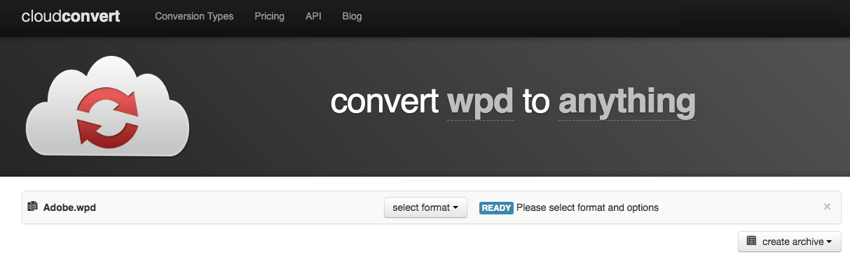 cloudconvert to open wpd