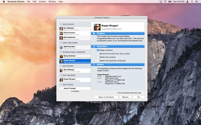 Contacts Cleaner for Mac main interface