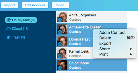 selected contacts