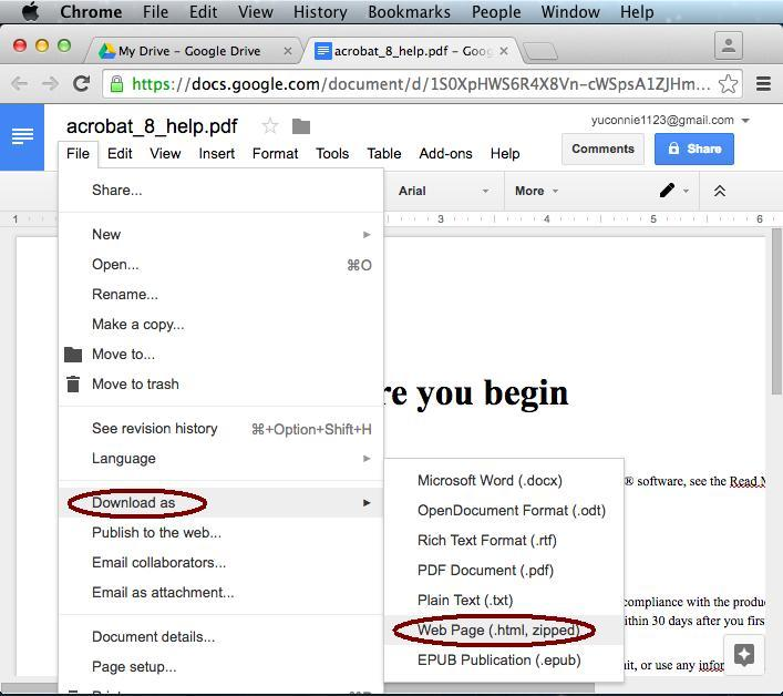 convert pdf to html with google docs