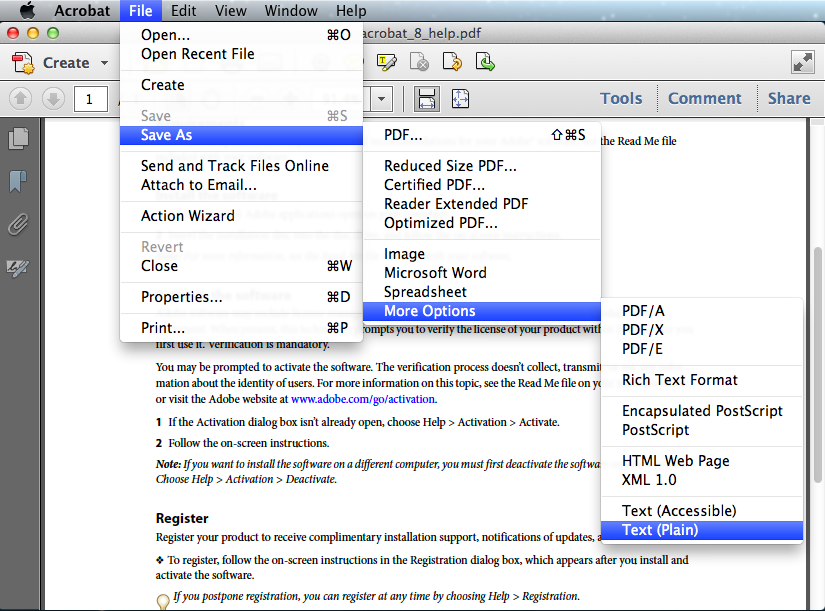 convert pdf to text with adobe