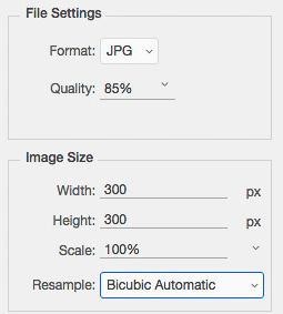 JPG output settings