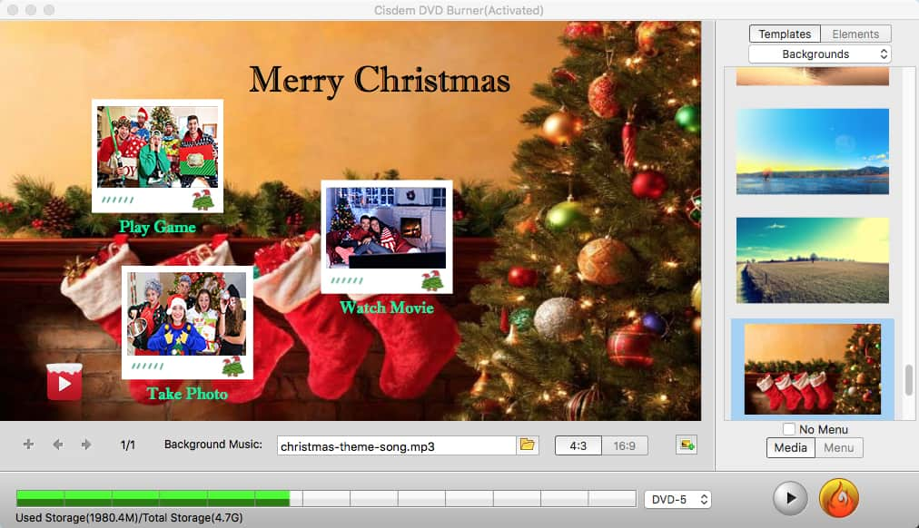 create christmas dvd template menu cisdem 03