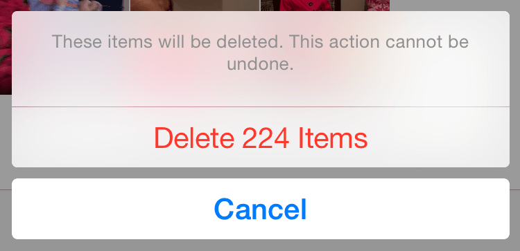 a pop-up dialog provides the Delete option