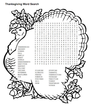 It is a graphic of Printable Thanksgiving Wordsearch for 5th grade