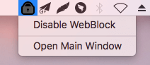 unblock all blocked sites by clicking Disable WebBlock