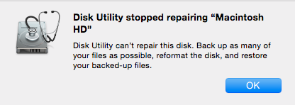disk Utility can't repair this disk error message