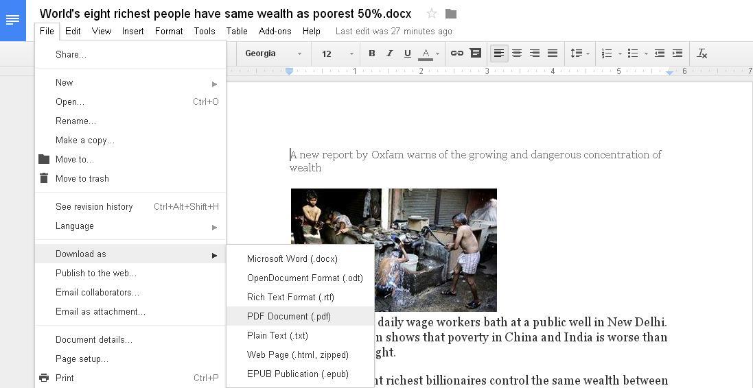 download file as pdf in Google Docs