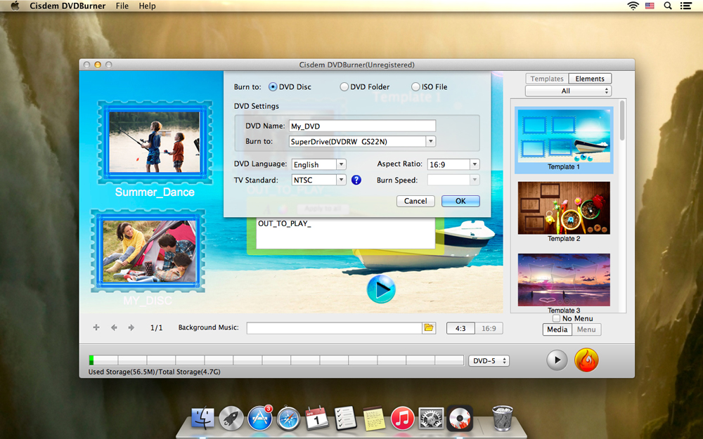 Convert FLV to DVD with Menu Templates on Mac Step Five