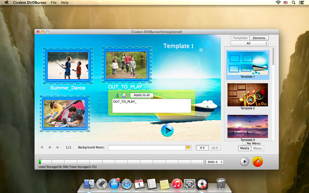 Convert FLV to DVD with Menu Templates on Mac Step Three