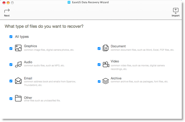EaseUS Data Recovery interface